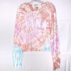 PINK Victorias Secret Tie Dye Campus Crew Crop Tee